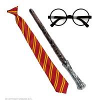 Set Harry Potter - 3 pz (Occhiali c/lenti,cravatta,bacchetta)