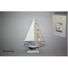 Barca a Vela c/rete in Legno 42 cm