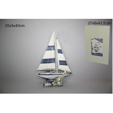 Barca a Vela in legno 40 cm