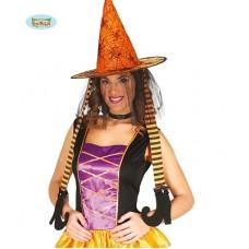 Cappello Strega Arancione c/piedi e velo