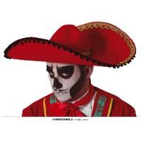 Sombrero Messicano Rosso 55 cm (Dia de Los Muertos)