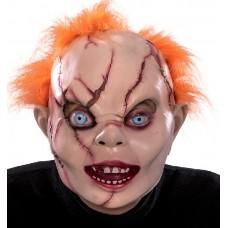 Maschera Bambola Horror c/capelli in lattice