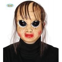 Maschera Bambola Horror c/capelli in pvc