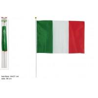 Bandiera ITALIA stoffa c/asta 31x44 cm