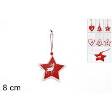 Appendino doppio legno (rosso/bianco) 8 cm