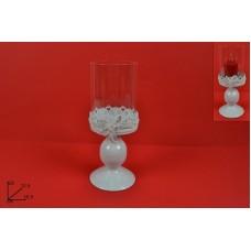 Alzatina portacandela bianca 26 cm