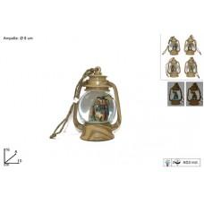 Lanterna Ampolla c/ luce e Nativita' color legno 8 cm