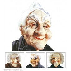 Maschera Vecchio/a c/parrucca in gomma