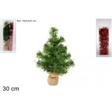 ALBERO 30 cm c/decorazioni Rosso