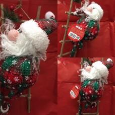 Babbo Natale Tessuto Scozzese 40 cm