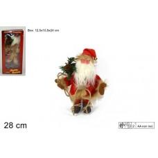 Babbo Natale c/musica e movim 28 cm - a batt.
