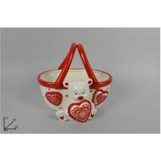 Cestino c/Orsetto San Valentino 20x16 cm