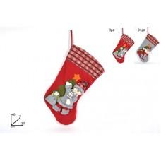 Calza Befana c/Babbo Natale 40 cm - 2 mod e col ass