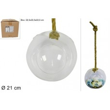 Ampolla Tonda in vetro c/corda 21 cm