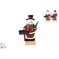 Babbo Natale/Pupazzo Neve c/lavagna in metallo - 39 cm - mod ass