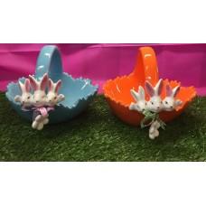 Cestino Coniglio c/manico Azzurro in ceramica 17 cm