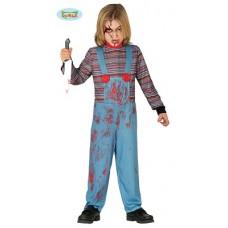 Costume CHUCKY/BAMBOLA HORROR - Tg 10/12 anni