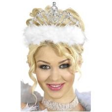 Corona Argento c/marabou bianco