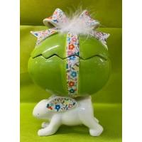 Uovo Cofanetto su Coniglio in ceramica 23x16 cm - 3 col ass