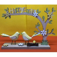 Albero Buona Pasqua in legno c/uccellini 15x20 cm - 4 col ass