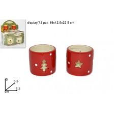 Porta-tealight Rosso in ceramica  (H.5cm diam.5,5cm)