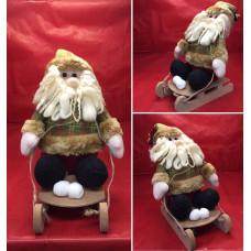 Babbo Natale su slitta in legno (H34X18X15cm)