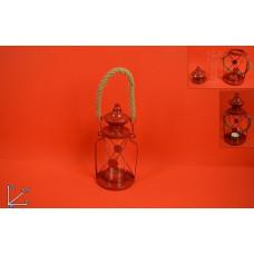 Lanterna Rossa c/manico in corda 22 cm