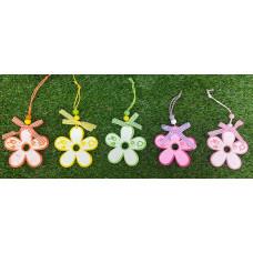 Appendino Fiore in legno 7 cm - 6 col ass