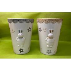 Portafiori con coniglio in ceramica