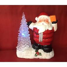 Babbo Natale con Albero a luce led in ceramica e plastica ( H19cm)