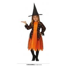 Costume STREGA RAGNO Arancione - Tg 5/6 anni
