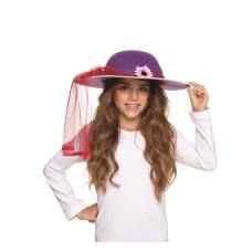 Cappello Dama Viola con nastro e fiore Bambina